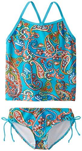 Kanu Surf Little Girls' Melanie Beach Sport 2-Piece Banded Tankini Swimsuit, Caroline Blue Paisley, 6X -
