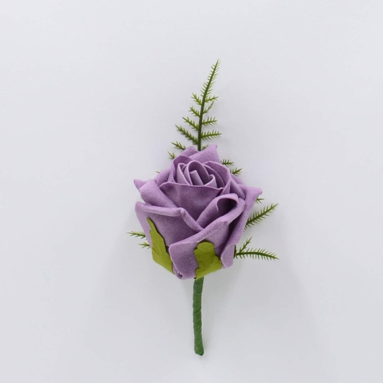 Artificial Wedding Flowers Hand-Made by Petals Polly, Foam Rose Buttonhole in Lavender PETALS POLLY FLOWERS