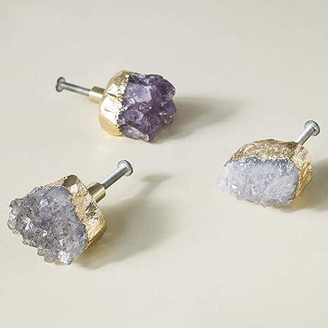XOYOYO Cristal Violeta Natural + pomo de latón Perillas de ...
