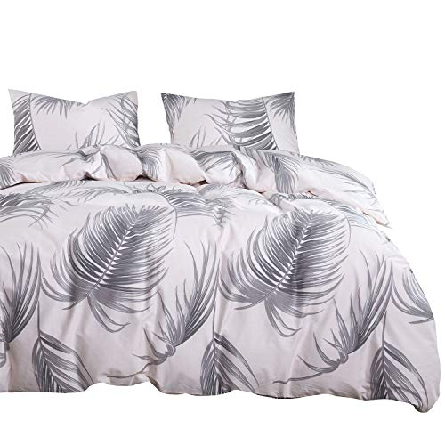 Wake In Cloud - Light Pink Duvet Cover Set, 100% Cotton Bedding, Gray Grey Palm Tree Leaves Pattern Printed, with Zipper Closure (3pcs, Queen Size) (Palm Pattern Tree)