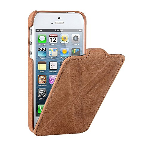 Decoded - D3IPO5FC2BN - Apple iPhone 5/5S Leder Flipcase Kreuz Hülle in Braun