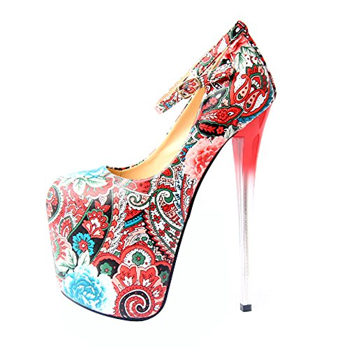 Fereshte Donna Moda Scarpe Chiuse Piattaforma Tacco Alto Tacco Alto Scarpe Da Sposa No.81 19cm-rosso