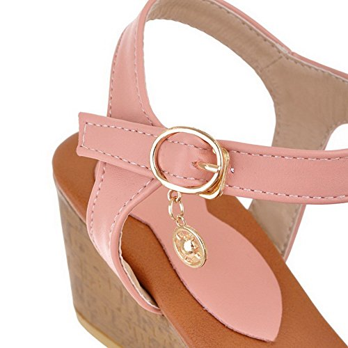 VogueZone009 Women's Buckle Open Toe Kitten-Heels PU Solid Wedges-Sandals with Bows Pink R6Ash