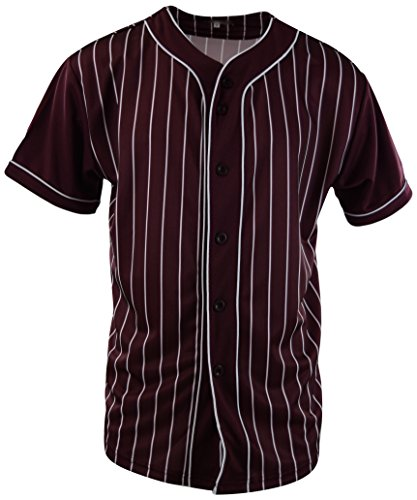 ChoiceApparel Mens Plain Solid Color Baseball Jersey (S, MF202-Burgundy) ()