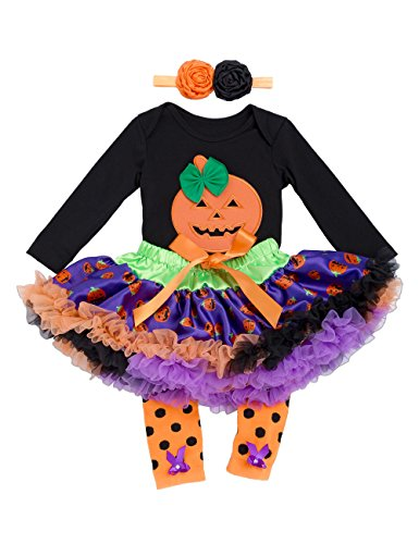 Halloween Outfits for Baby Girls - 4 Pieces Newborn Pumpkin Costume Romper Tutu Dress Set, S(0-3 Months), Black