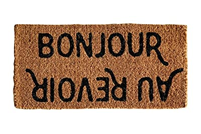 "Creative Co-Op Natural Coir ""Bonjour/Au Revoir"" Doormat, 32"" x 16"""