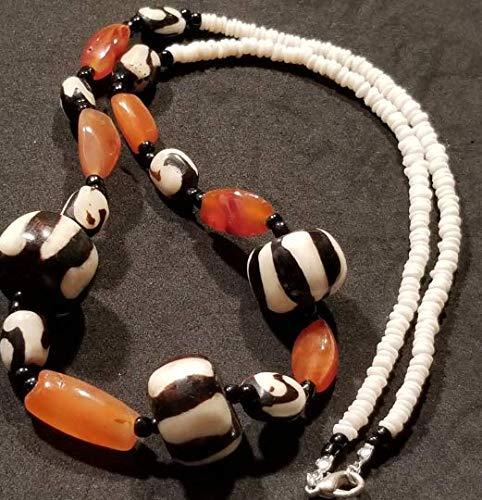 Carnelian Gemstone African Batik Bone Bead White Heishi Beads Necklace