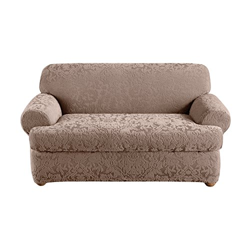Sure Fit Stretch  Jacquard Damask 2-Piece - Loveseat Slipcover  - Mushroom (SF40839)