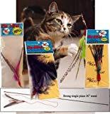 The Da Bird Super Pack (Includes 1 Da Bird Original 36'' Single Pole Cat Toy, Feather Refill, Sparkly Attachment, Kitty Puff Attachment & Peacock Feather)