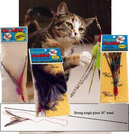 The Da Bird Super Pack (Includes 1 Da Bird Original 36'' Single Pole Cat Toy, Feather Refill, Sparkly Attachment, Kitty Puff Attachment & Peacock Feather) by CoolCyberCats