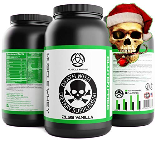 _ Vanilla Gluten Free WHEY Protein by Death Wish Supplements * Grass Fed, Low Fat,Low Sugar Protein Shake for Men & Women,Lean Muscle,Meal Replacement Shakes for Weight Loss