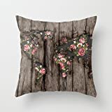 UOOPOO Wood Flowers Mapamundi Cotton Canvas Pillow Case 20 x 20 Inches Square Cushion Cover for Sofa Print One Side