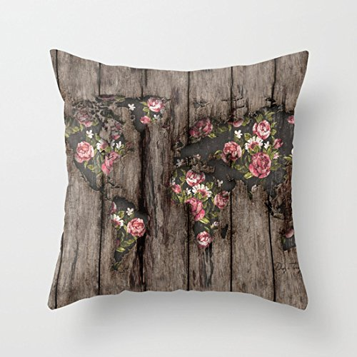 UOOPOO Wood Flowers Mapamundi Cotton Canvas Pillow Case 20 x 20 Inches Square Cushion Cover for Sofa Print One Side by UOOPOO (Image #1)