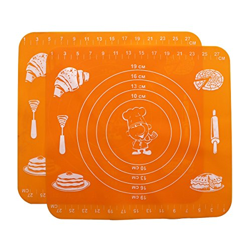 2 Packs Hippih High-temperature Non-Stick Silicone Dough Oven Baking Mat,Orange