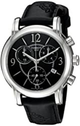 Tissot Men's Swiss Quartz Stainless Steel and Leather Automatic Watch, Color:Black (Model: T0502171705700)