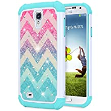 Galaxy S4 Case, S4 Diamond Case, NageBee [Hybrid Protective] Armor Soft Silicone Cover with [Studded Rhinestone Bling] Design Diamond Hard Case For Samsung Galaxy S4 S IV I9500 GS4 All Carriers -Wave