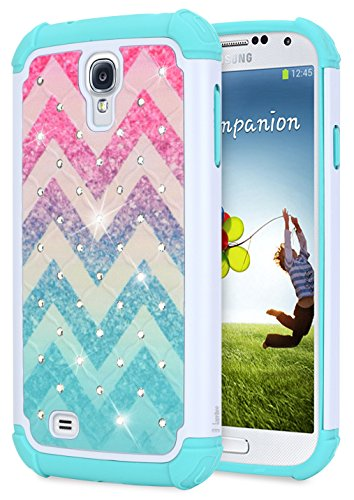 Galaxy S4 Glitter Case for Girls Women Kids, NageBee Sparkle Bling Studded Rhinestone Diamond Shockproof Hybrid Cover Cute Case for Samsung Galaxy S4 -Wave (Galaxy Samsung Phone 4 Case)