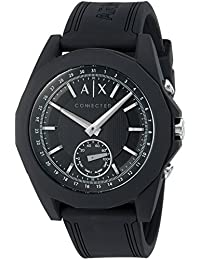 Armani Exchange Men's 'Drexler' Quartz Resin and Silicone Smart Watch, Color Black (Model: AXT1001)