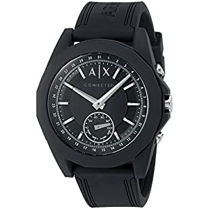 A|X Armani Exchange Men's Hybrid Smartwatch, Black Silicone, 44 mm, AXT1001