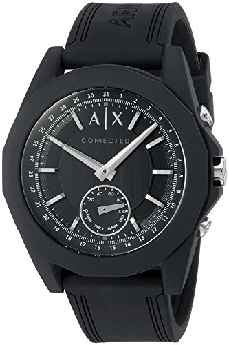 Armani Exchange Men's 'Drexler' Quartz Resin and Silicone Smart Watch, Color:Black (Model: AXT1001)