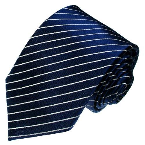 LORENZO CANA Luxury Italian 100% Silk Tie Jacquard Woven Handmade Blue Navy Stripes 84281 ()