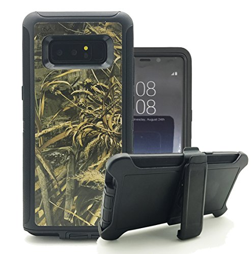 Galaxy Note 8 Case, Harsel Heavy Duty Tree Camouflage High Impact Shock Resistant Rugged Dirt Proof Military Durable Protective Case Cover with Belt Clip Kickstand for Galaxy Note 8 (Wheat Black) by Harsel