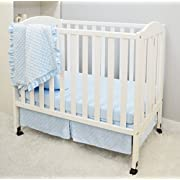 American Baby Company Heavenly Soft Minky Dot 3-Piece Mini/Portable Crib Bedding Set, Blue