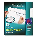Avery LSK8 Index Maker Clear Label Dividers with White Tabs for Laser and Ink Jet Printers, 3 hole punched, 5 set of 8 tabs