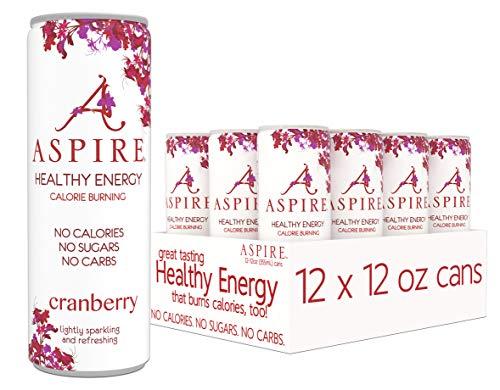 ASPIRE Healthy Energy, Calorie Burning, Zero Calorie, Zero Sugar Drink Cranberry 12-Pack