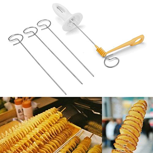 - Katoot@ Reusable Potato Twister Stainless Steel Tornado Slicer Manual Cutter Spiral Chips Fruits Vegetable Tools Kitchen Cooking Maker