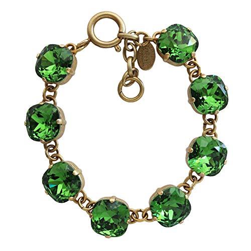 Catherine Popesco Goldtone Crystal Round Bracelet, Fern Green 1696G