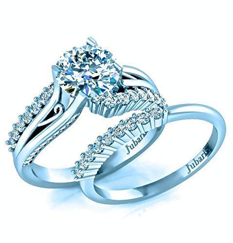 - 1.63Ctw Modern Round Diamond Bridal Ring Sets Engagement Ring and Matching Wedding Band Custom Split Shank Scroll White Gold Designer Fine Jewelry