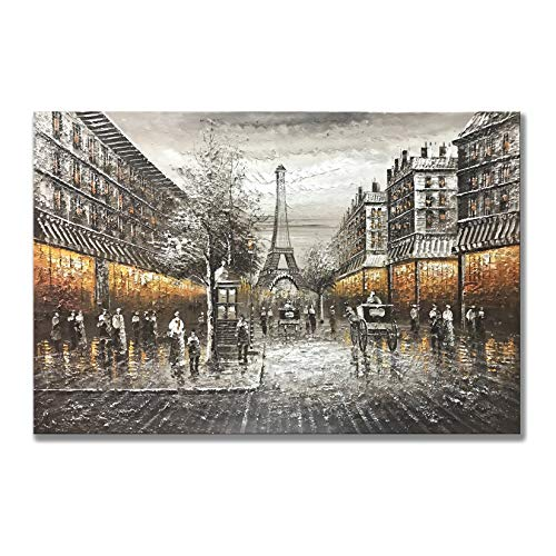 Zoyart Abstract Painting Artwork for Walls, 24x36 Inch Hand Painted Oil Paintings On Canvas Wall Art Paris Street Eiffel Tower Wall Decor Home Decor for Living Room(YH-A05, 24x36inch)