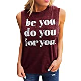 TWinmar -Women Letter Printing Vest Fashion T Shirts Tees Casual Sleeveless Tank Tops for Ladies Wine