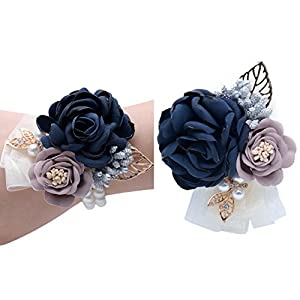 Florashop Navy Satin Rose Wrist Corsage & boutonniere Wedding Bridal Bridesmaid Wrist Corsage Wristband and Men's Groom Bridegroom Boutonniere for Wedding Prom Party Homecoming 103
