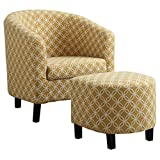 Monarch Specialties Burnt Yellow Circular Fabric Accent Chair/Ottoman, 30-Inch Review
