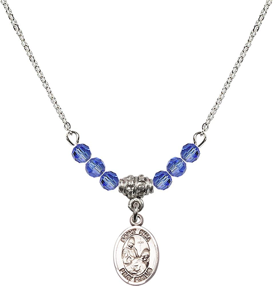 18-Inch Rhodium Plated Necklace with 4mm Sapphire Birthstone Beads and Sterling Silver Saint Fina Charm.