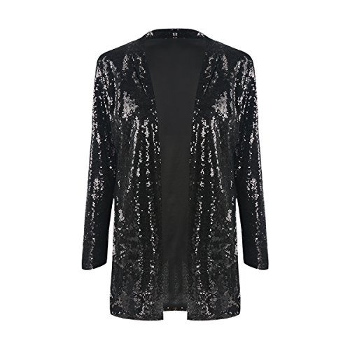 Jacket Sparkle Sequin - IRISIE Women Sparkle Sequins Open Front Long Sleeve Blazer Jacket (Medium, Black)