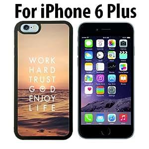 Trust God Enjoy LIfe Custom Case/ Cover/Skin *NEW* Case for Apple iPhone 6 PLUS - Black - Rubber Case (Ships from CA) Custom Protective Case , Design Case-ATT Verizon T-mobile Sprint ,Friendly Packaging - Slim Case