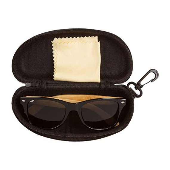WOODIES Bamboo Wood Sunglasses with Plastic Frames 3 Handmade from REAL Bamboo Wood (50% Lighter than Ray-Bans) Includes FREE Carrying Case, Lens Cloth, and Wood Guitar Pick Polarized Lenses Provide 100% UVA/UVB Protection