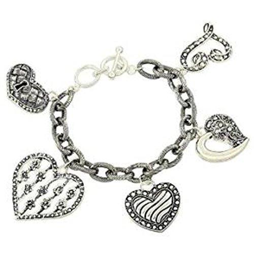 Marcasite Toggle Clasp - Heart Charm Bracelet C57 Ornate Marcasite Look