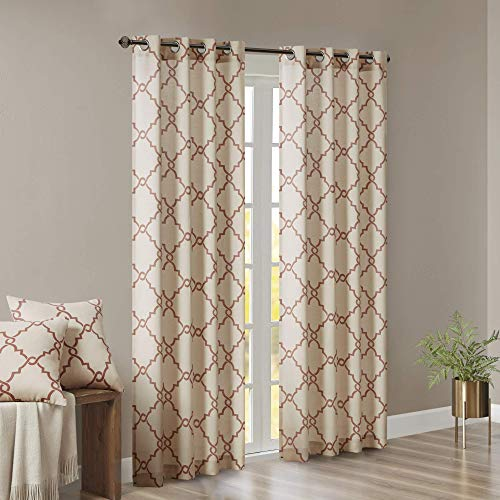 Madison Park Saratoga Room-Darkening Curtain Fretwork Print 1 Window Panel with Grommet Top Blackout Drapes for Bedroom and Dorm, 50x84, Spice (Renewed)