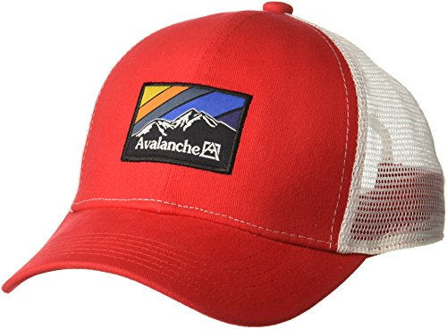(Avalanche Men's Mesh Trucker Hat with a Woven Label Front, red, one Size)