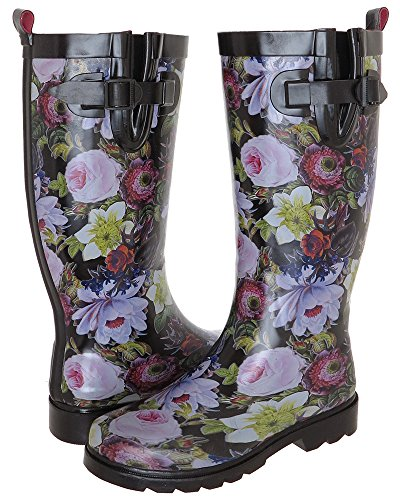 Capelli New York Ladies Shiny Floral Drop Printed Rain Boot Black Combo 8