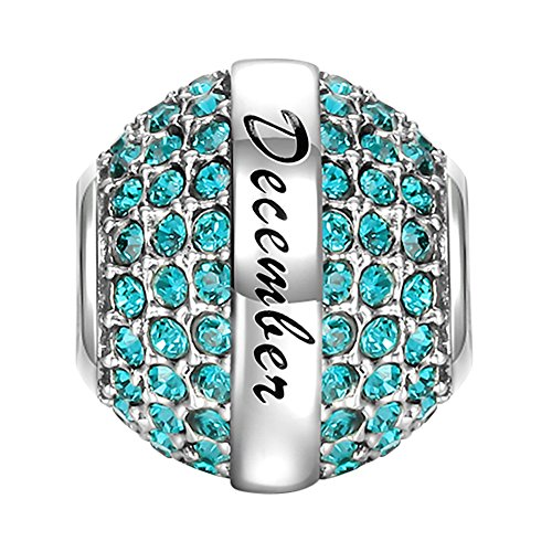 SOUFEEL December Birthstone Charm Blue Swarovski Crystal 925 Sterling Silver Charms Fit European Bracelet