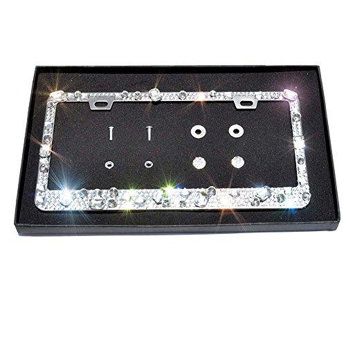 - Qinsuee Pure Handmade Waterproof Stainless Steel Metal Luxury Sparkle Crystal Bling License Plate Frame - Silvery with Crystal