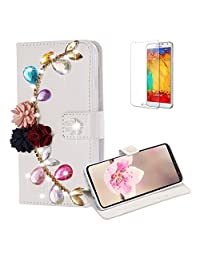 Funyye Diamond Wallet Cover for Samsung Galaxy S9,Luxury 3D Flower Leaves Design Crystals Bling Magnetic Flip Case Kickstand Feature Card Slots for Samsung Galaxy S9,Anti Scratch Full Body Soft Silicone PU Leather Case for Samsung Galaxy S9 + 1 x Free Screen Protector