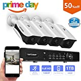 Safevant 4 Channel 1080P AHD Home Security Cameras System W/ 4x HD 2.0MP (1920TVL) Waterproof Night Vision Indoor/Outdoor CCTV Surveillance Camera,Pre-installed 1TB HDD,Free APP,Plug&Play