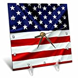 3dRose Alexis Design - America - Flag of the United States Of America. Stars on top - 6x6 Desk Clock (dc_270542_1)