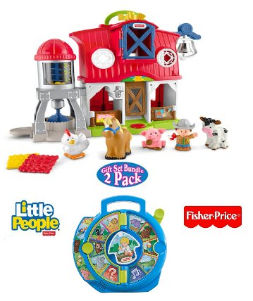 Fisher Price Little People Caring For Animals Farm Playset and World of Animals See N Say Gift Set Bundle
